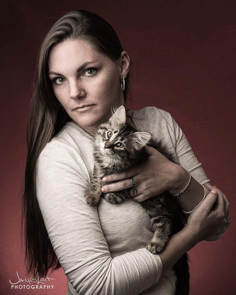Anna Stout and kitten
