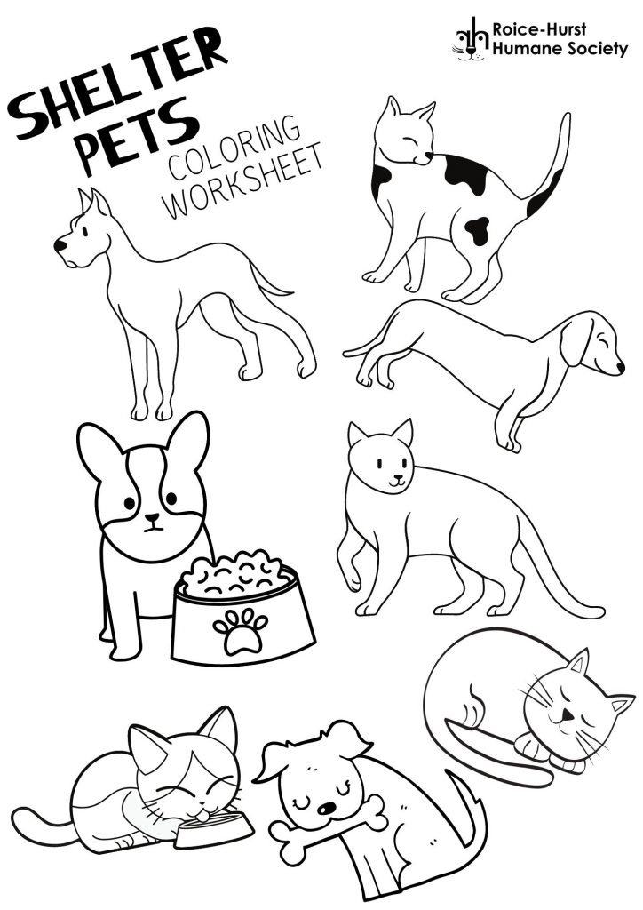 Shelter Pets Coloring Page